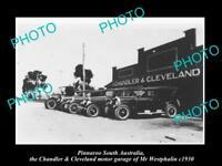 OLD LARGE HISTORIC PHOTO OF PINNAROO SA, CHANDLER & CLEVELAND MOTOR GARAGE c1930