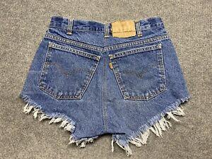 Vintage Levi's Denim Shorts Womens 28 Cut Off Relaxed Fit Orange Tab Blue Adult