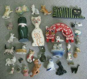 CAT FIGURINES: Job Lot of 33 Figures/Fridge Magnets/Thimble