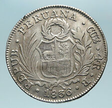1836B Peru South America Antique Libery Coat of Arms Silver 4 Reales Coin i84155