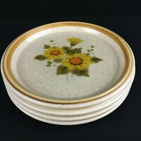 Set of 4 VTG Salad Plates Mikasa Stone Manor Melissa Yellow Floral F5811 Japan