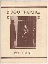 "Playbill  ""Precedent""  1931  Broadway   Bijou Theatre"