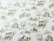 Dolls House Toile de Jouy Green on White Miniature Picture Print Wallpaper 1:12