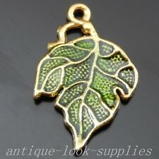 50112 Antique Golden Tone Alloy Green Leaves Pendant Charms Finding 20pcs