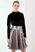 New Womens Turtle Neck Velvet Bodysuit Ladies Long Sleeve Stretch Top Size 8-14
