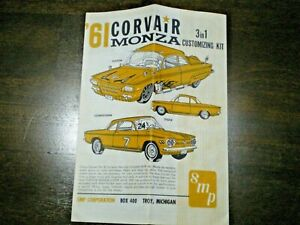 """SMP """"1961Corvair Monza """" Original 3-in-1 Model Car Instruction sheet from 1961"""