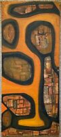 Vintage 1950s Abstract Oil Painting Mid Century Modern Art Wall Hanging Signed