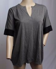 NWT Natori Inside Out Gray Black Kimono Slv Oversized Lounge Wear Top Blouse XS