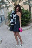 ZARA Blue Print Floral Tulip Strapless Brocade Skater Full Skirt Dress size S  M