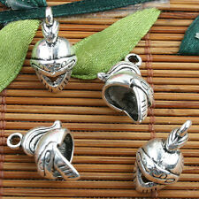 Tibetan Silver color soldier helmet  style charms 10pcs EF0096