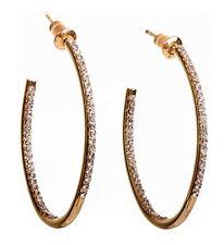 dcfbd8968 Swarovski Elements Crystal Open Oval Hoop Pierced Earrings Gold Authentic  7968z