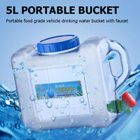 5L Outdoor Water Bucket Portable Tank Container with Faucet for Camping Picnic