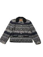 Woolrich Aztec Print Black Gray Metal Buttons Collared Blanket Wool Coat Jacket