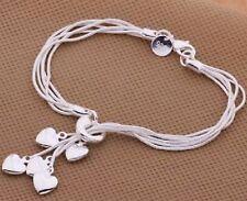Damen Silber 5 Herz Armband Schmuck Geburtstag Jahrestag Geschenk UK