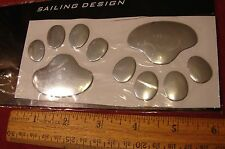 3D ANIMAL PAWS DOG OR BEAR  3D CHROME FINISH CAR STICKER, EMBLEM FROM U.S.A.