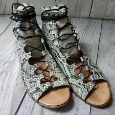 MATISSE Womens Size 7 Farrel Leather Snake Skin  Lace Up Gladiator Flat Sandals