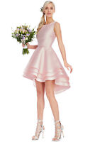 New Women's Multilayered Sleeveless Mini Nude Skater Prom Party Dress Size(8-14)