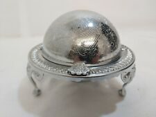A Vintage Silver Plated Roll Top Butter Dish with elegant patterns.1940.s.