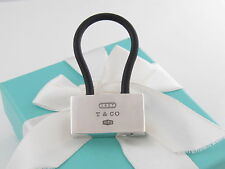 Tiffany & Co Silver New 1837 Black Rubber Keychain Key Ring Chain Box Included