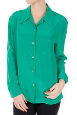 PRADA New Woman Green 100% SILK Button Front Long Sleeve Blouse Shirt Size 44 IT