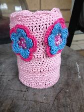 Pink Crocheted Cover for stubby holder crocheted flowers Aussie Made One only