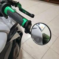 """Pair Black  Motorcycle Bike Round 7/8"""" Handle Bar End Rear View Side Mirrors FO"""