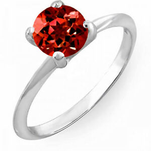14K White Gold Round Red Garnet Bridal Engagement Solitaire Ring 1 CT (Size 8)