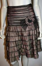NANETTE LEPORE Tiered Petticoat Net Skirt 2 Pink Green Silk Black Flower OOAK