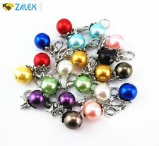 20pcs Colorful Pearl Dangle Charms Pendant with Lobster Clasp Jewelry Beads New