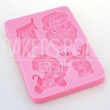 Christmas Stocking Snowman Rudolf Santa Chocolate Silicone Mould Baking Icing