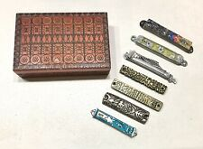 7 Vintage Antique Judaica Metal Enameled Silver Decor Mezuzah Carved Wood Box