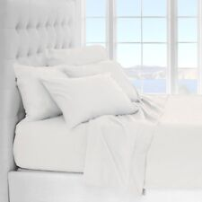 REAL COTTON COLLECTION 800TC 100% COTTON SOLID 4PC BED SHEET SET - QUEEN- WHITE