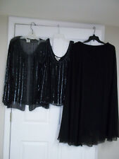 Patra Evening Wear 3 Piece Size 16 Black Silver Sequin