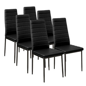 6 PCS Black Dining Chairs Padded Seat High back Metal Legs Home Furniture