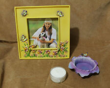 Hand Painted 3D 3 Pc Decorative Frame Candle Gift Set Ames Dept Store Rare NIB