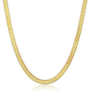 Womens 3mm Herringbone Snake Chain 16 inch Choker Necklace Gold Stainless Steel