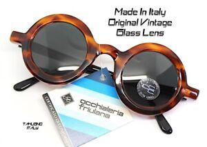 MADE IN ITALY OCCHIALI DA SOLE rotondo grande donna marrone nero lente vetro
