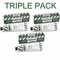 3 Pack - Proraso Eucalyptus and Menthol Shaving Cream 150ml Green Tube 150ml