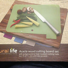 natural life acacia wood cutting board  4 heat resistant polypropylene mats