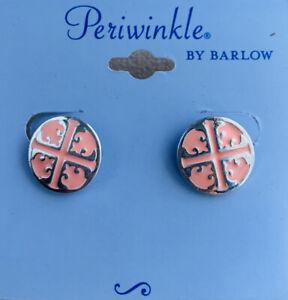 Periwinkle By Barlow Womens Elegant Pink Silver Stud Earrings