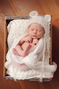 Newborn Bear Bonnet Beanie Baby Girl Boy Crochet Bear Hat Newborn Photo Prop