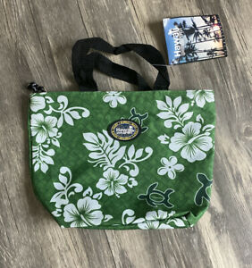 NEW Hawaii Spirit Turtles Flowers One Zipper Small Green Tote Bag