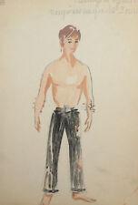 Vintage European Theatre costune design watercolor painting portrait