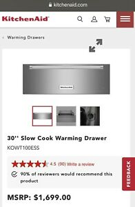 BRAND NEW KitchenAid KOWT100ESS 30in. Warming Drawer slow cooker- Stainless