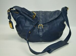 Marc Jacobs Navy Blue Leather Large Buckle Flap Crossbody Hobo Bag