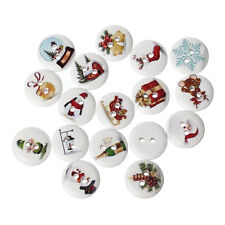 30 WHITE MIXED CHRISTMAS WOOD BUTTONS 15mm Sewing~Embellishment~Cards (37A) UK