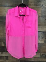 Free People Women Sheer Pink Long sleeve Button Up Peplum Flyaway Back Tunic Top