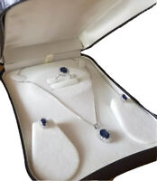 White gold finish blue sapphire and created diamond gift set boxed free postage