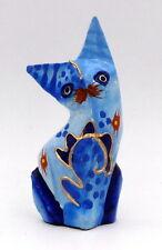 Statuette chat bleu en bois peint peinture or artisanat Bali 11 cm