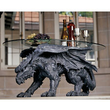 Dragon Statue Sculpture Medieval Gothic Decor Unique Furniture Glass Top Table
